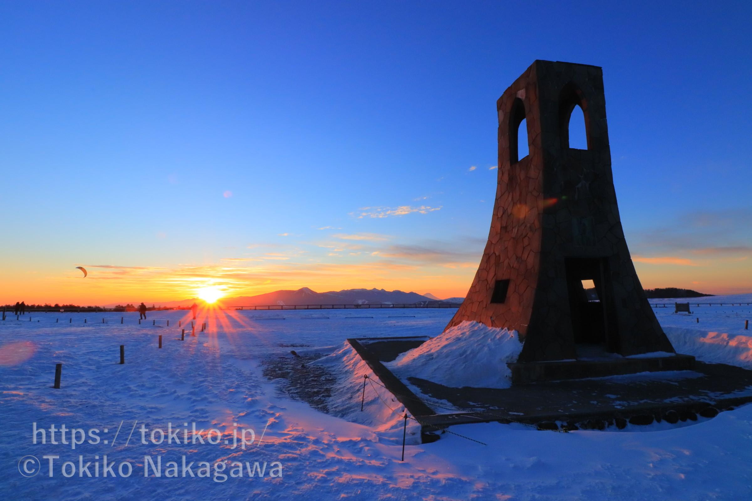 冬の美ヶ原高原|ご来光と日本アルプスの眺め